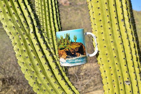 Taza de cerámica con fotografía amanecer en islote el choyudito