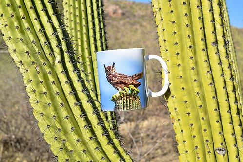 Taza de cerámica con fotografía de Búho Real americano