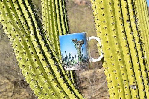 Taza de cerámica con fotografía de Sahuaro crestado