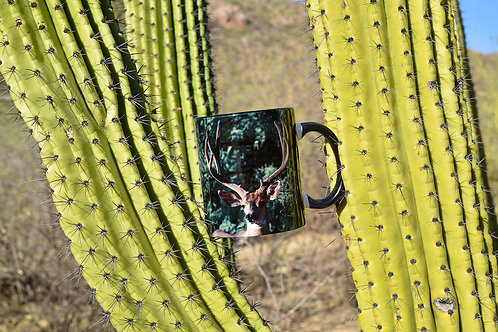 Taza de cerámica con fotografía venado bura de Sonora