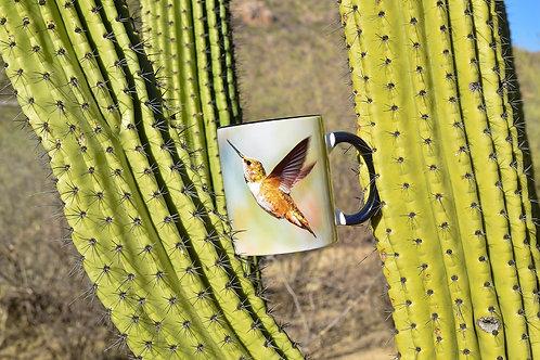 Taza de cerámica con fotografía de colibrí en vuelo