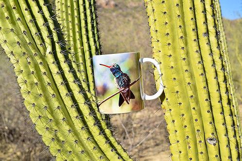 Taza de cerámica con fotografía de colibrí