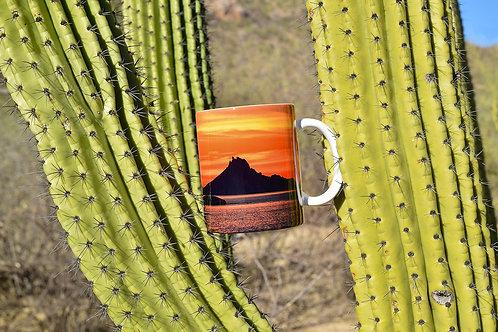 Taza de cerámica con fotografía de atardecer en el Tetakawi