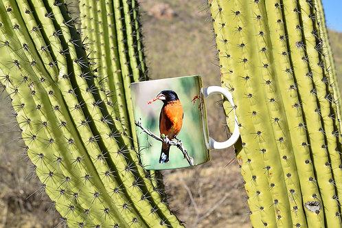 Taza de cerámica con fotografía de ave pico gordo