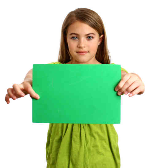 young-girl-holding-a-blank-green-sign