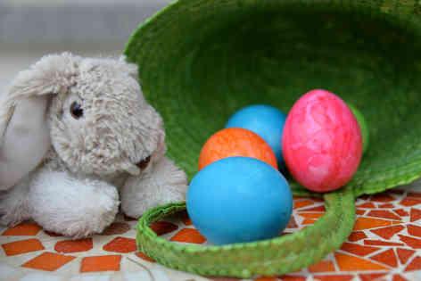 Фотография кролика и пасхальных яиц в корзинке
