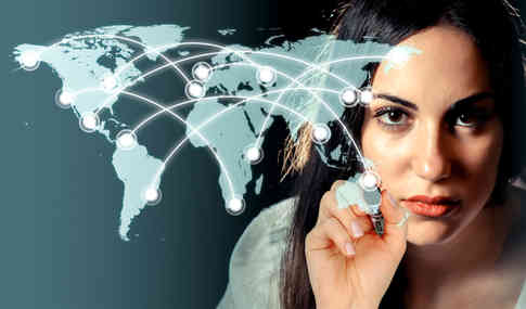 woman-drawing-a-network-over-a-virtual-world-map