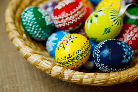 Фотография пасхальных яиц в корзинке