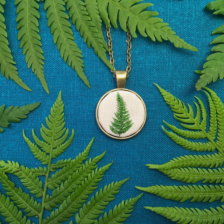 Embroidered Green Fern Pendant
