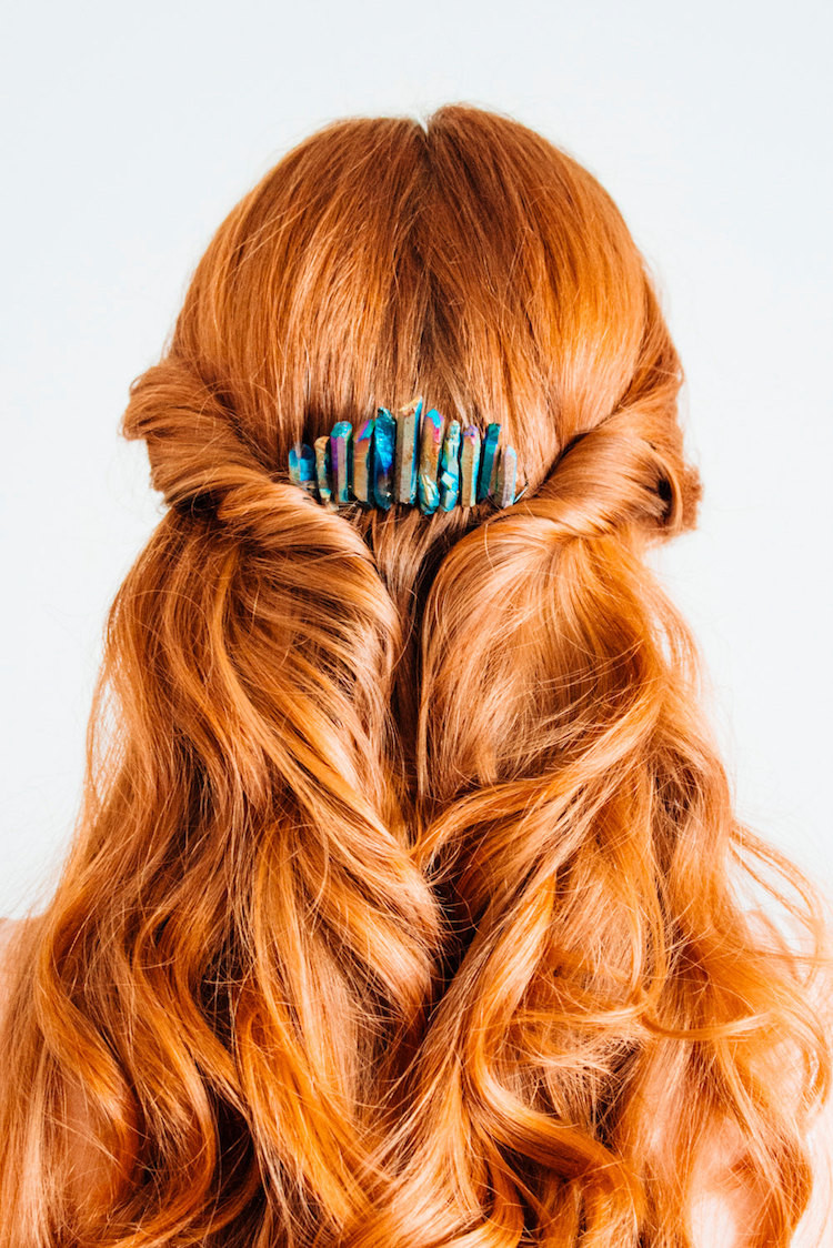 Raw Matte Rainbow Stone Hair Comb