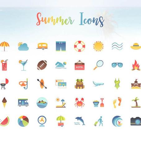 40 ярких летних иконок (PNG, PDF, PSD, EPS, AI, SVG)