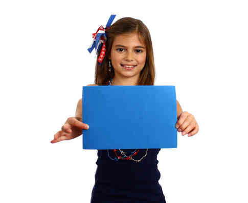young-girl-holding-a-blank-blue-sign