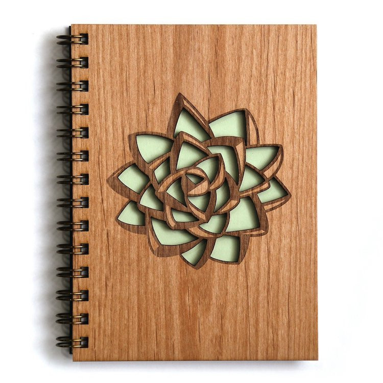 Succulent Laser Cut Wood Journal