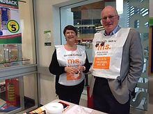 Takapuna Rotary Member George Wood collecting for MS