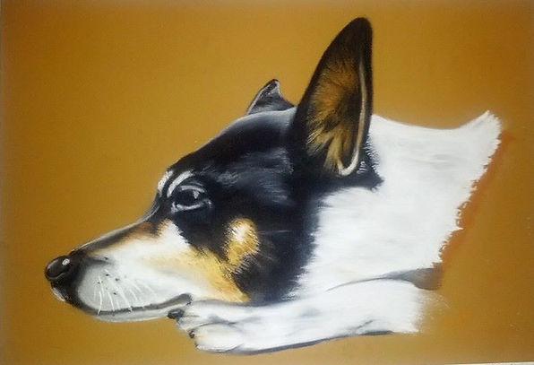 Dog Terrier Puppy Runt Pastel Pet Portrait Elmo