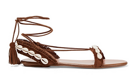 AQUAZZURA Riviera shell-embellished suede sandals