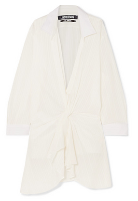 JACQUEMUS Alassio draped embroidered cotton-blend mini dress
