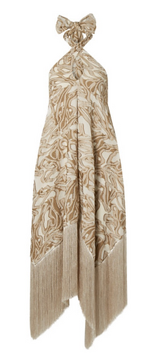 CULT GAIA  Ali halterneck fringed jacquard dress