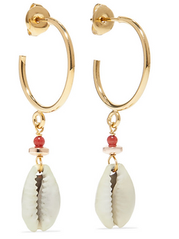ISABEL MARANT Gold-tone shell earrings