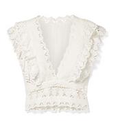 ZIMMERMANN Wayfarer cropped ruffled crochet-trimmed linen top