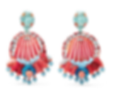 RANJANA KHAN Beaded shell, leather and raffia clip earrings