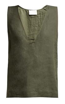 ASCENO Deep v-neck linen top