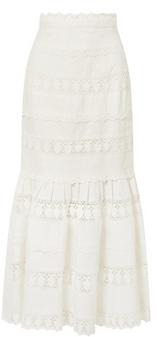 ZIMMERMANN Wayfarer fluted crochet-trimmed linen maxi skirt