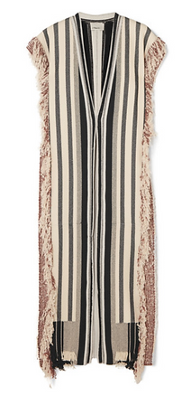PHILLIP LIM Fringed striped cotton-blend robe