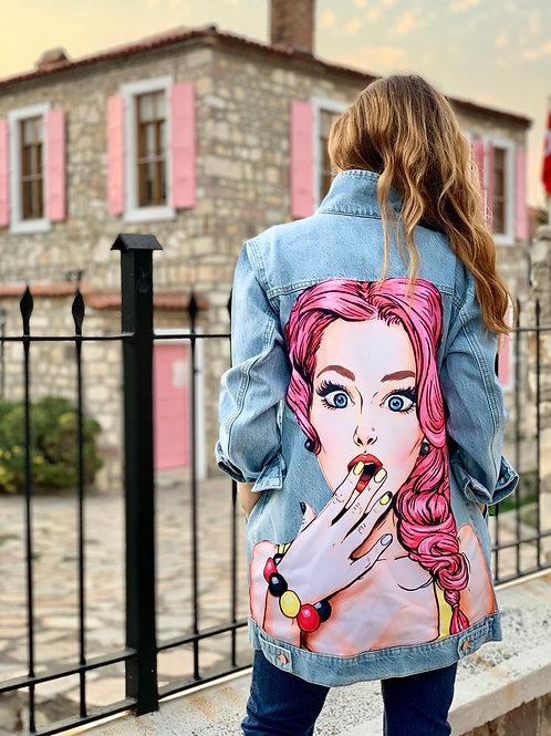 Pop-art Desenli Denim Ceket, Uzun Oversize Kot Ceket, Poupee Kot Mont