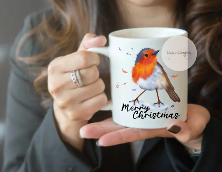 Merry Christmas Robin Mug
