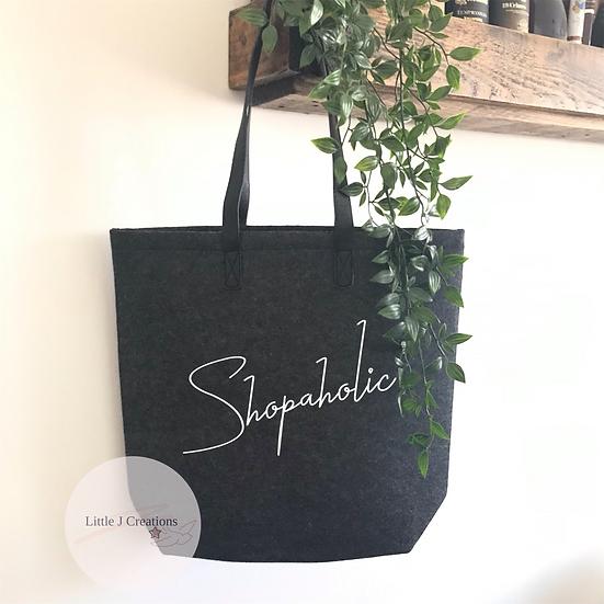 Shopaholic Felt Tote Bag