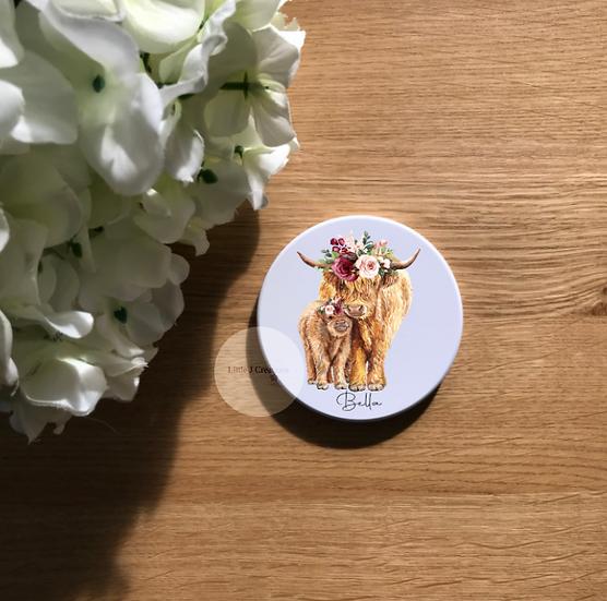 Floral Calf & Highland Cow Coaster