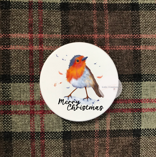 Merry Christmas Robin Coaster