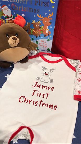 Personalised First Christmas Sleepsuit