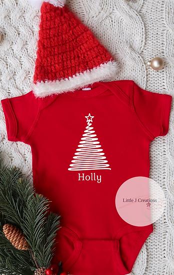 Personalised Christmas Tree Baby Vest