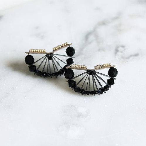 . Boucles d'oreilles FUJI . Version Noire .
