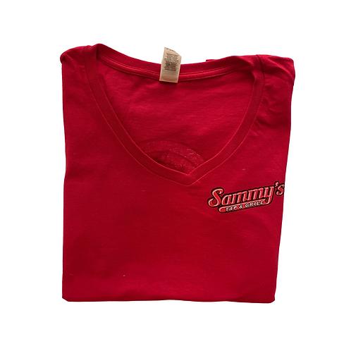 Red Short Sleeve V-Neck