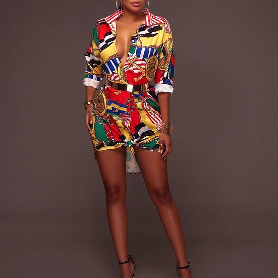 Multi colored chain print dress
