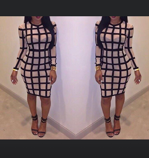 Sheer Grid Dress