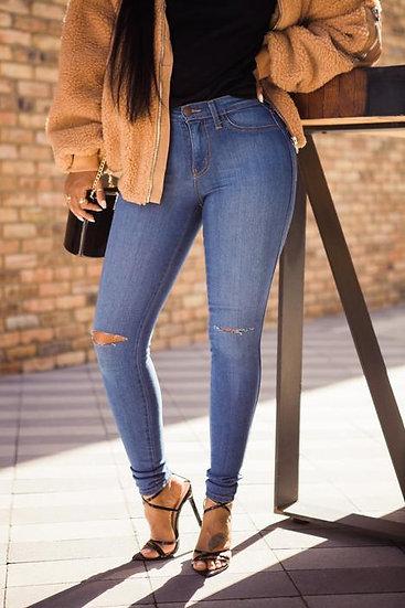 Skinny Knee Slit Jeans Medium Wash