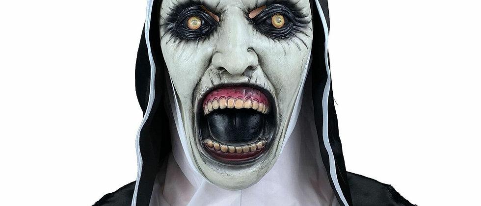 Monja Disfraz De Terror Aterrador valak cara Peluca Máscara Halloween Utilería F