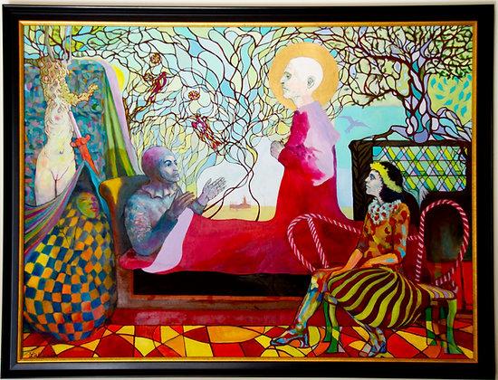 "Harlequin Dreams, 36x48"" framedoil painting"
