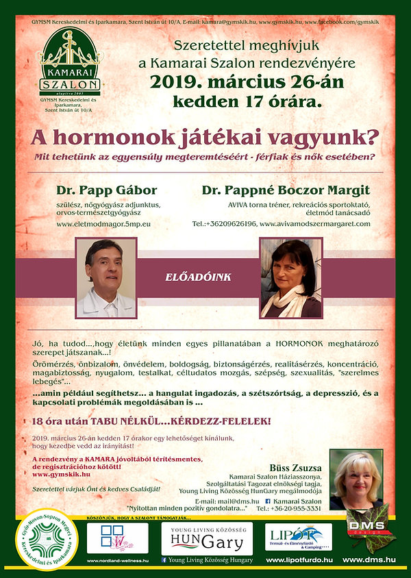 A hormonok játékai vagyunk? - Kamarai Szalon előadás Győr - Dr. Pappné Boczor Margit és Dr. Papp Gábor