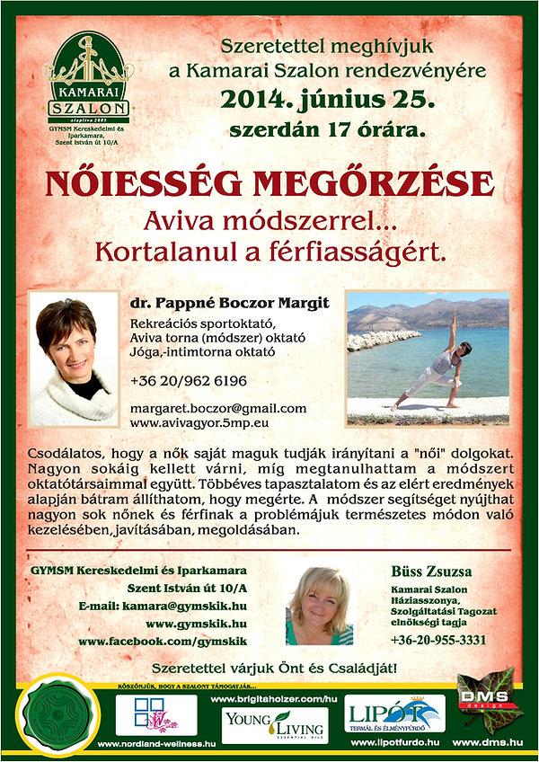 Nőiség megőrzése az Aviva módszerrel - Kamarai Szalon - Dr. Pappné Boczor Margit