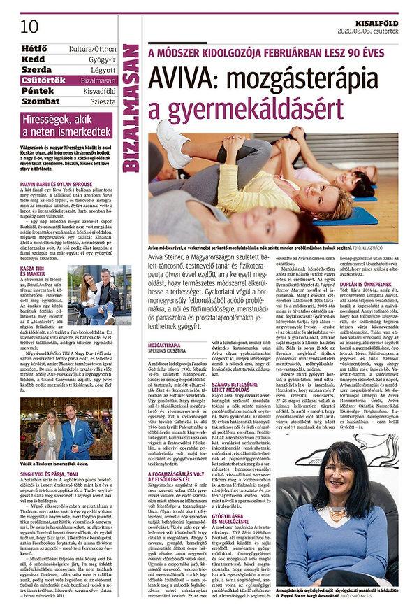 Aviva mozgásterápia a gyermekáldásért - Aviva Steiner 90 éves - Kisalföld 2020. február 6.