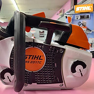 STIHL MS201T chainsaw with debris guard installed