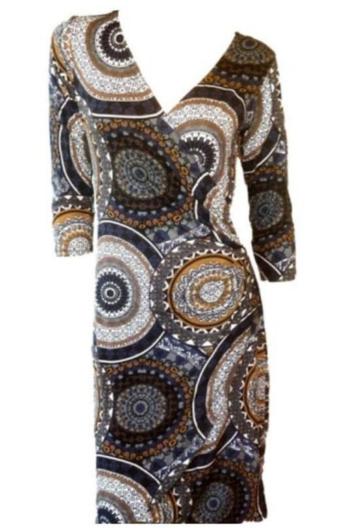 Brown & Blue Patterned Wrap Dress