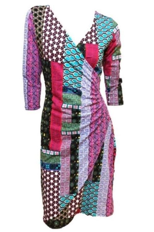 Multi-Coloured Mixed Prints Wrap Dress