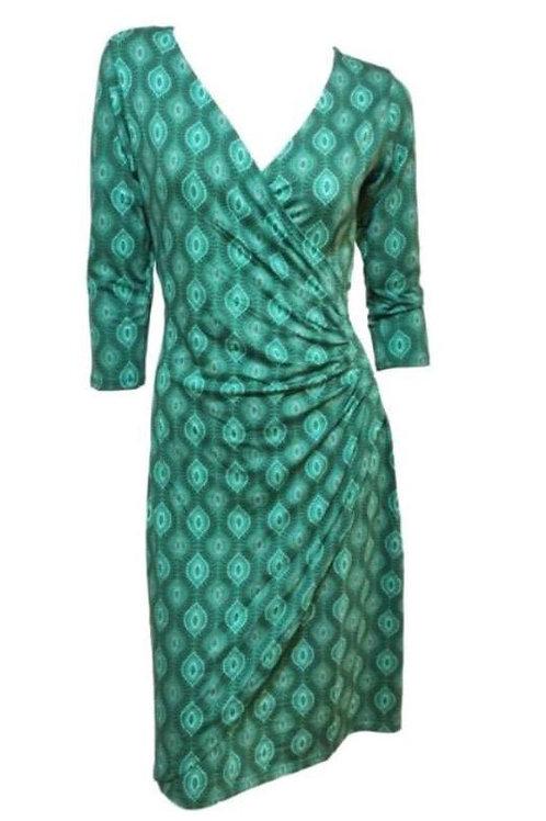 Green Diamond Wrap Dress