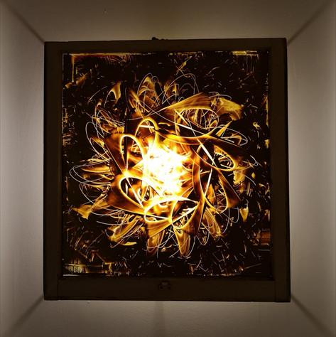 """Atria, oil on glass, 2017, $2200 CAD. 33"""" x 34"""""""